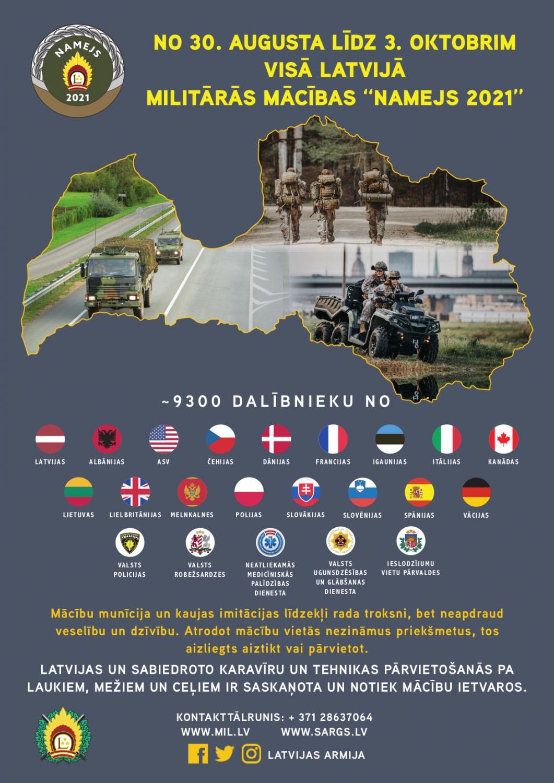 В учении Namejs-2021 принимают участие 9000 солдат из Латвии, США, Великобритании, Канады, Германии, Польши, Эстонии, Литвы, Испании, Италии, Дании и Чехии.
