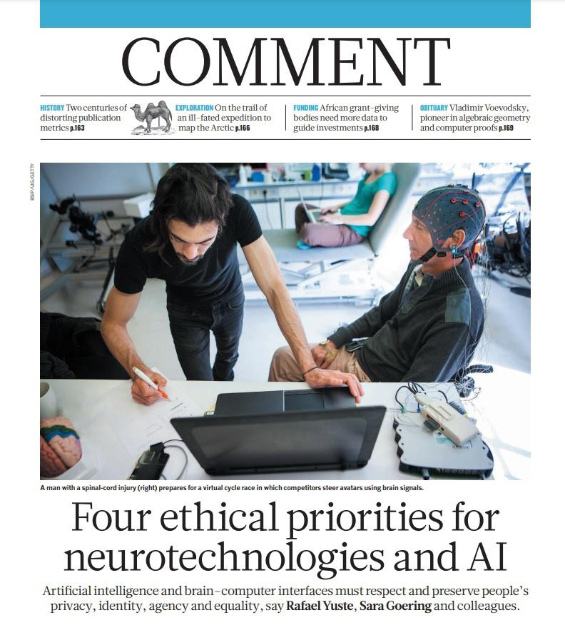 В программной статье, опубликованной лидерами NRI в ноябре 2017 года в британском журнале Nature, сообщается, что «искусственный интеллект и интерфейсы мозг-компьютер должны уважать и сохранять частную жизнь, личность, свободу действий и равенство людей».