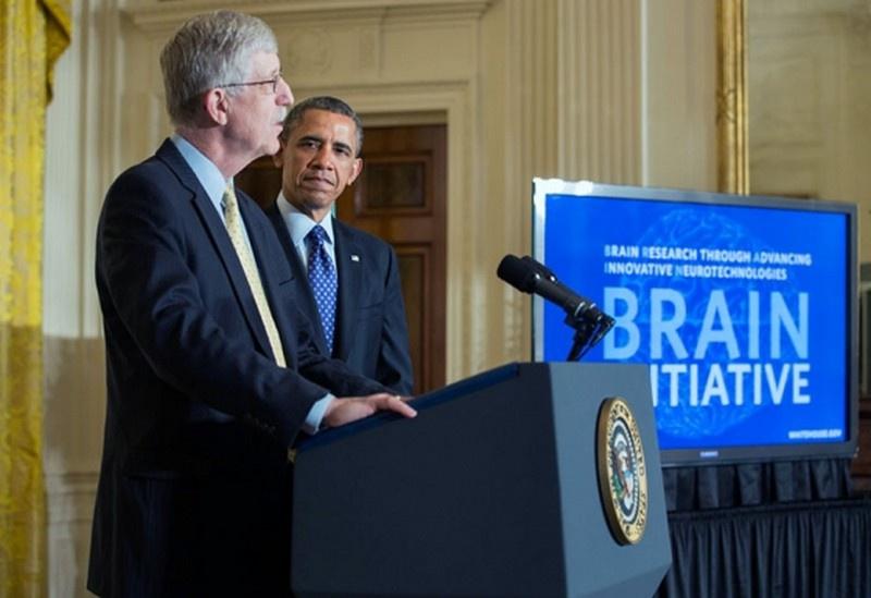 Президент Барак Обама и директор Национального института здравоохранения Фрэнсис Коллинз объявляют об инициативе BRAIN.