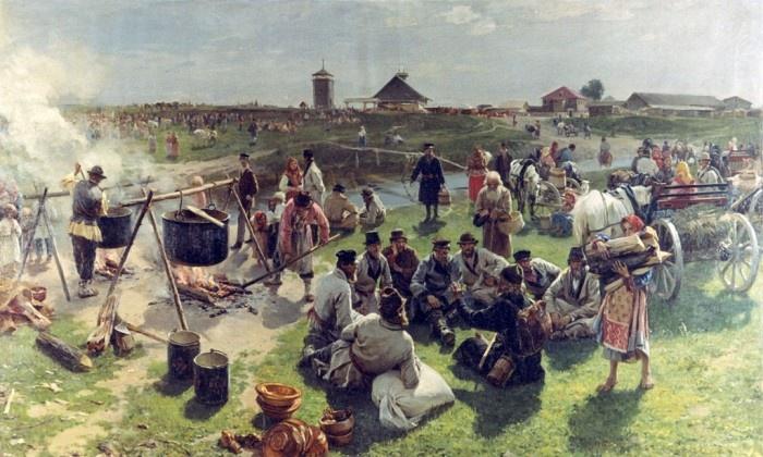 И.М. Прянишников. Общий жертвенный котёл в престольный праздник. Начало 1890-х годов.