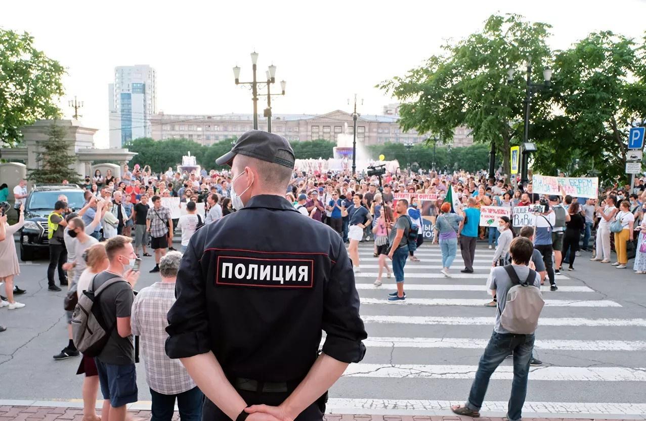 Акция протеста в Хабаровске, начавшаяся после задержания губернатора Сергея Фургала.