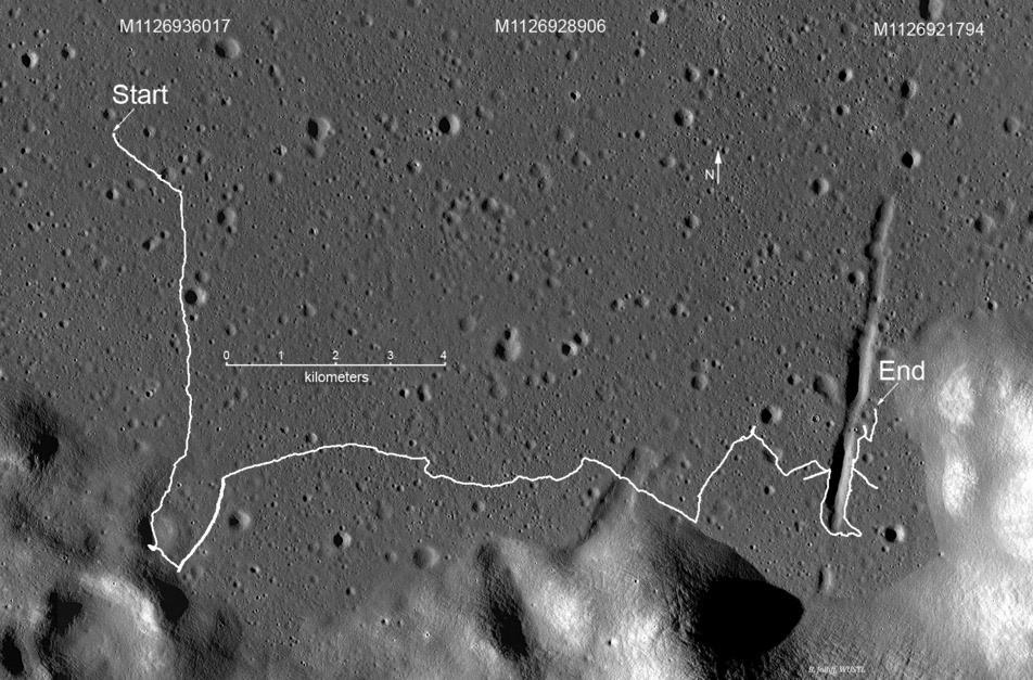 Маршрут «Лунохода-2» по Луне.