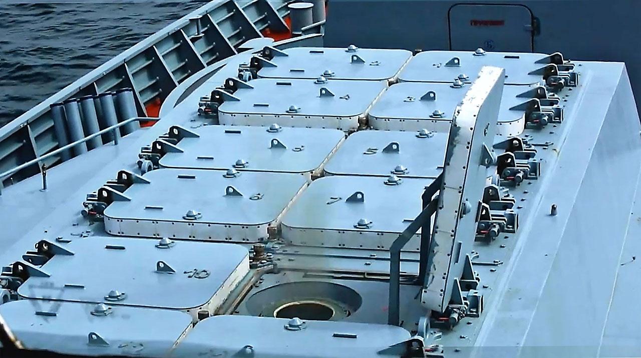 Пусковая установка корабельного ЗРК «Полимент–Редут».
