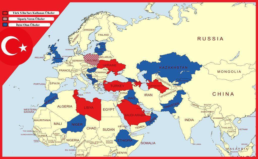 Красным отмечены страны, с которыми уже заключены контракты, cиним - с которыми обсуждается вопрос закупки турецких БПЛА.
