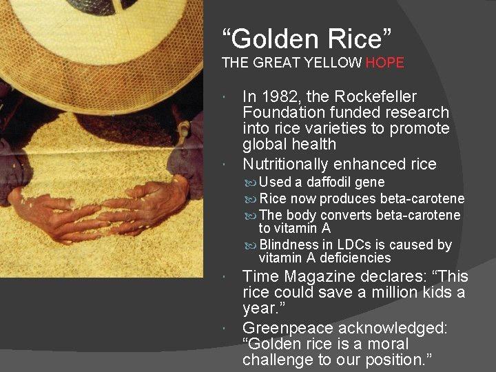 «Золотой рис» - ГМО-продукт, созданный при поддержке Фонда Рокфеллера якобы для благих целей.