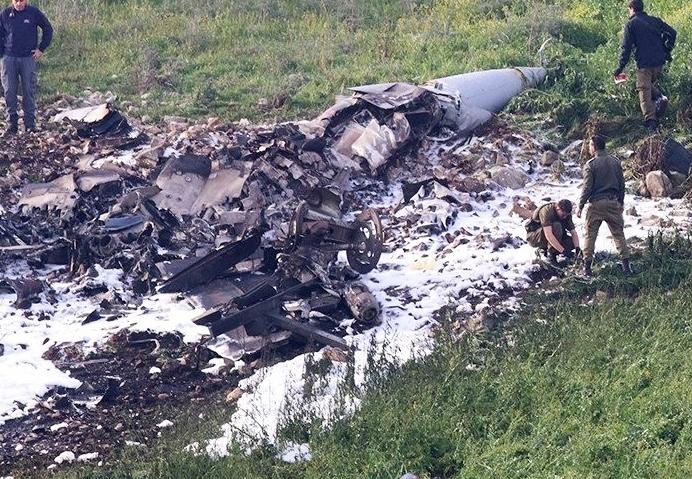 Израильский F-16 сбитый сирийскими ПВО