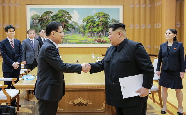 Глава КНДР Ким Чен Ын принимает делегацию Южной Кореи в 2018 году