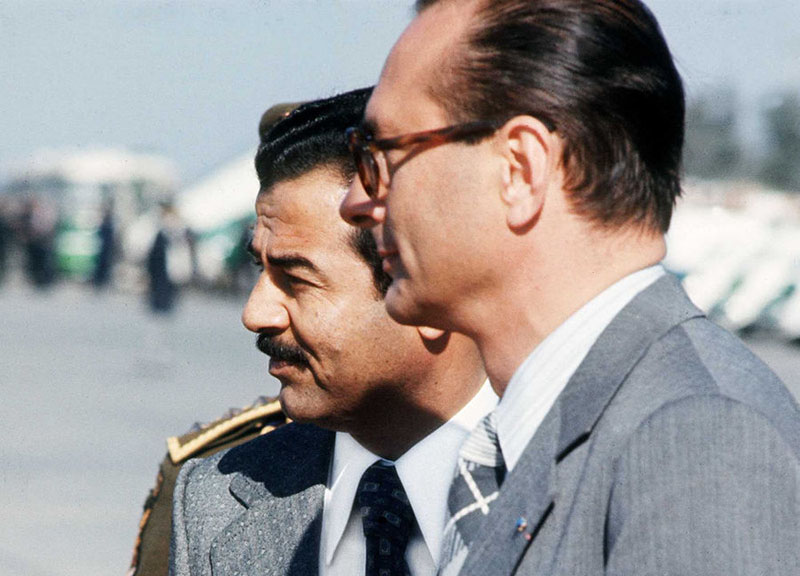 Саддам Хусейн с французским премьер-министром Жаком Шираком, 1976 год