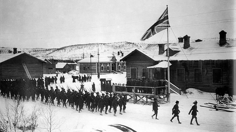 Парад английских войск в Мурманске в 1918 году
