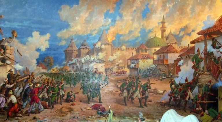 Г. Зыков, Н. Дмитриетко - Штурм Бендерской крепости русской армией в 1770 году, диорама.