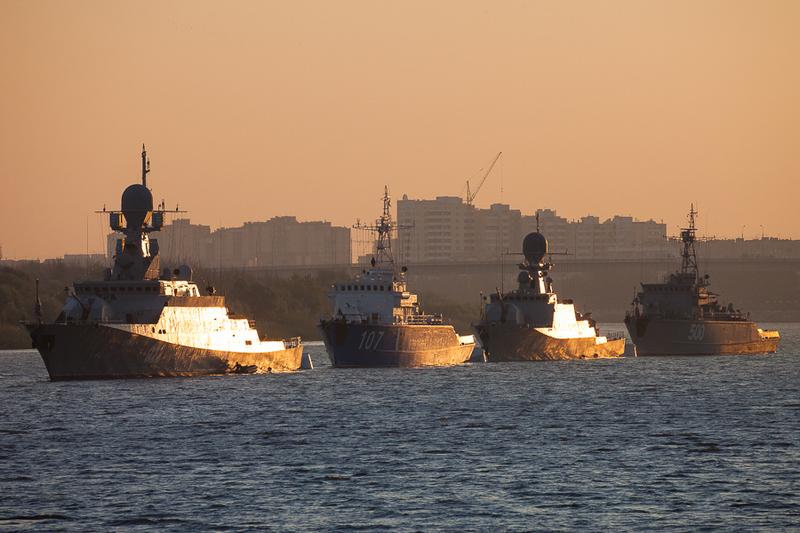 Выход в море кораблей Каспийской флотилии