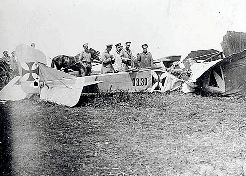 Николай ІІ у сбитого германского самолета.