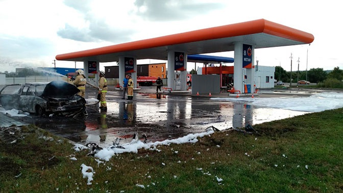 На АЗС в Курске загорелось газовое оборудование