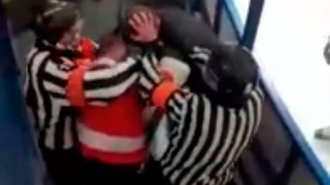Хоккеист подрался с фанатами во время матча в Новосибирске