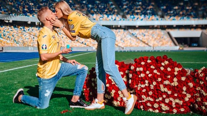 Игрок «Манчестер Сити» сделал предложение девушке на стадионе в Киеве