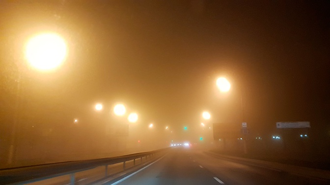 Подмосковье накрыл сильнейший туман видимостью в 200 метров