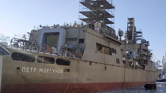 Начались ходовые испытания БДК «Петр Моргунов» на Балтике