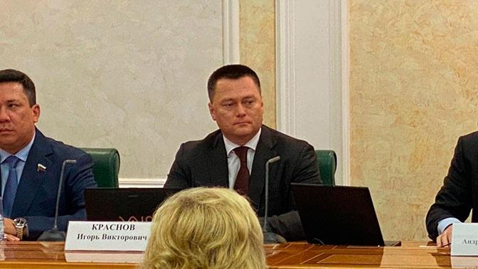 Игорь Краснов на совместном заседании комитетов по итогам предварительного обсуждения<figcaption class=