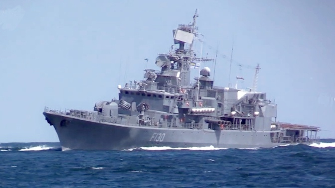 Флагман ВМС Украины «Гетман Сагайдачный» провел учения со стрельбой в Черном море