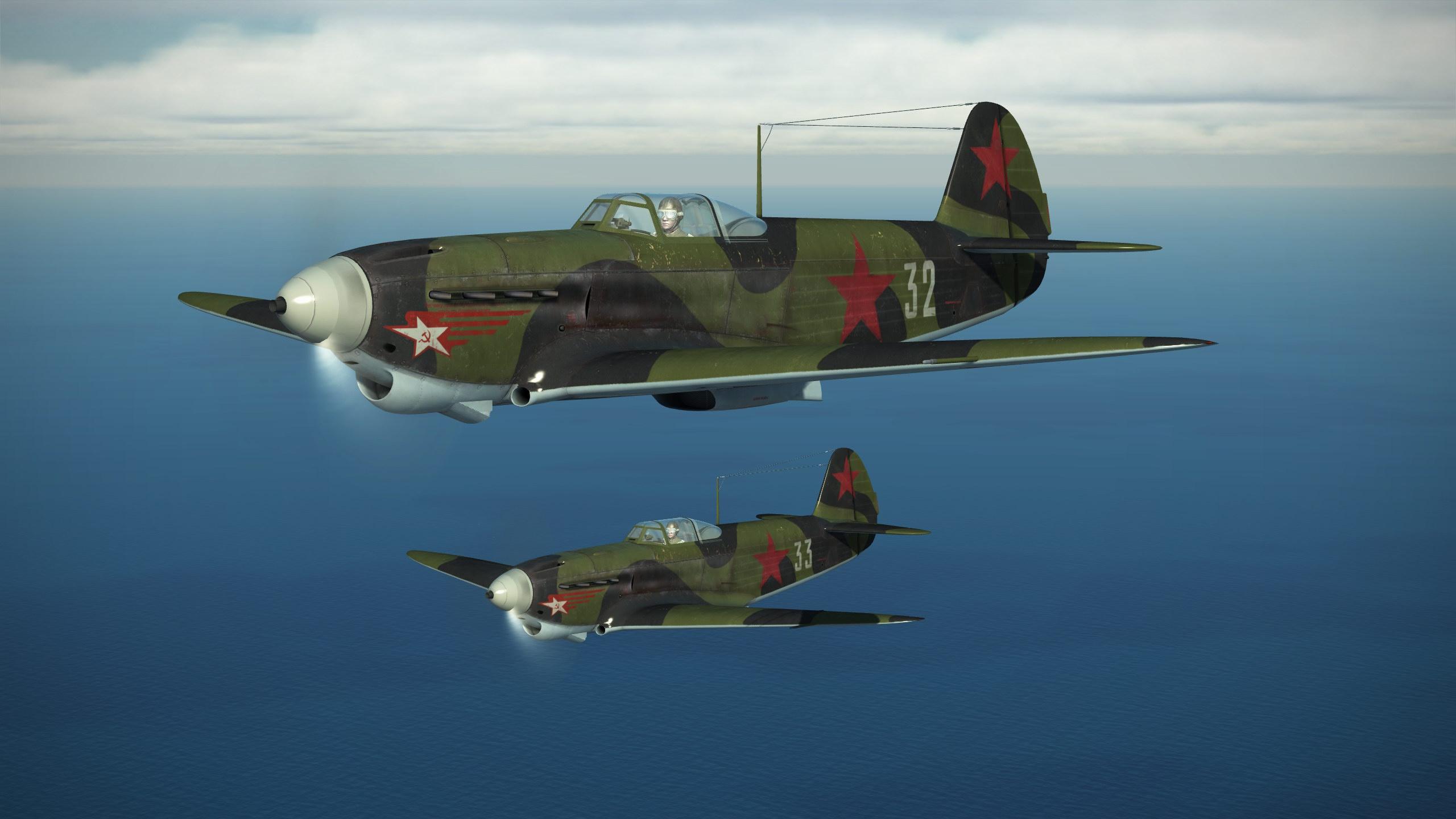 Як-1Б, 1943 год. Данные варианты текстур, воссоздающие исторические окраски самолётов, выполнены Максимом Брянским.<figcaption class=