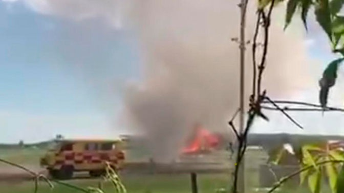 Самолет загорелся после посадки в Казахстане