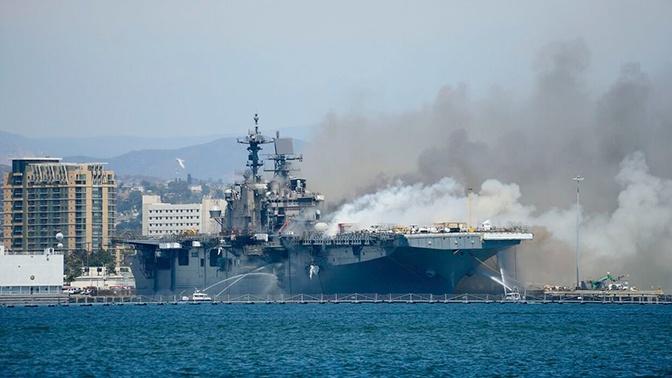 СМИ: причиной крупного пожара на корабле ВМС США мог быть поджог