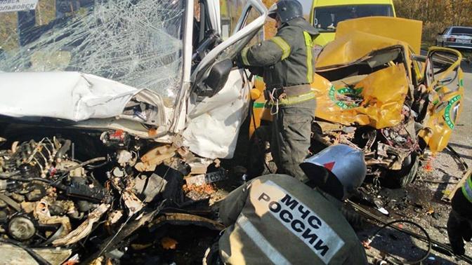 Микроавтобус и такси столкнулись в Тульской области: есть погибшие