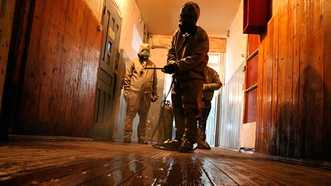 Российские специалисты РХБЗ продезинфицировали свыше 50 зданий в Абхазии