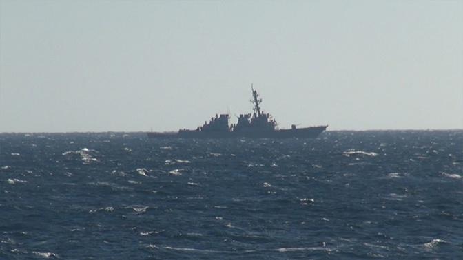 Опубликованы кадры прохождения эсминца «Джон Маккейн», нарушившего границу РФ