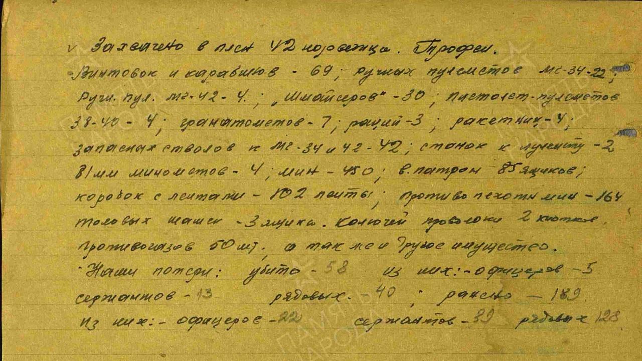 Страница 78 журнала боевых действий 731-го стрелкового полка за период с с 13.04.1943 по 01.07.1945. Подсчет трофеев и собственных потерь.<figcaption class=