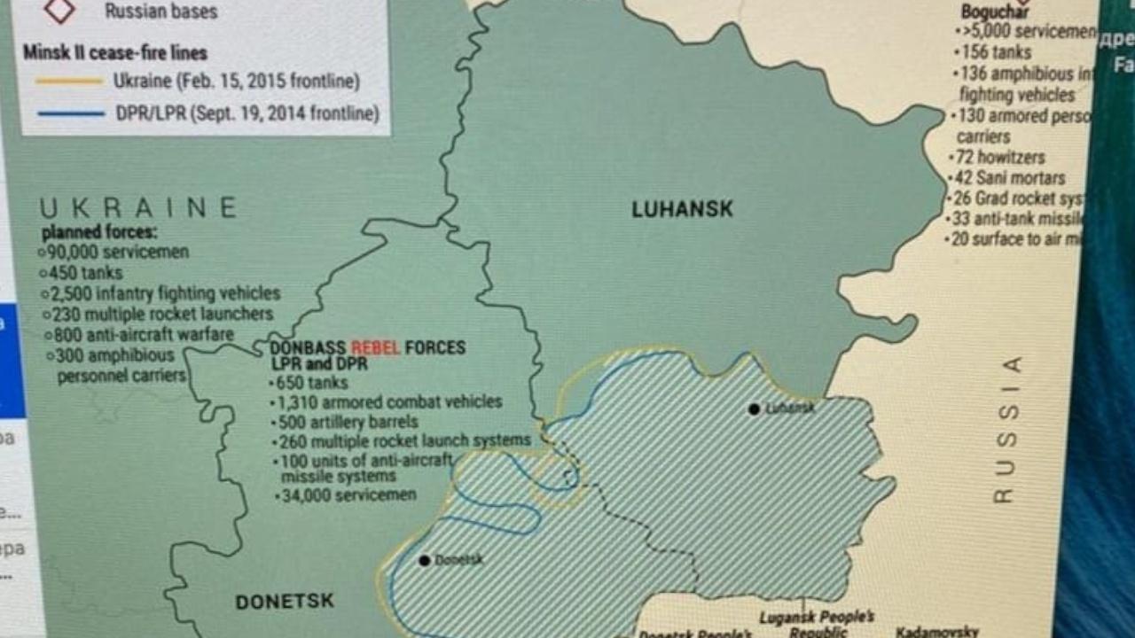 Бывший премьер Украины опубликовал составленную американцами карту боевых действий Донбасса
